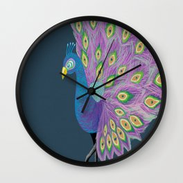 Peafowl #society6 #feathers Wall Clock
