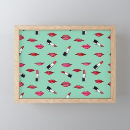 Lips and lispticks pattern in tropical background Framed Mini Art Print
