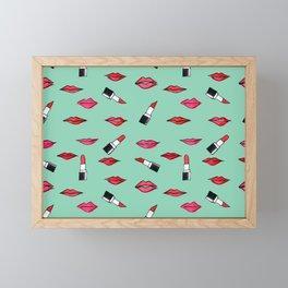 Lips and lispticks pattern in tropical background Framed Mini Art Print