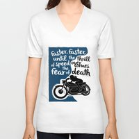 hunter s thompson V-neck T-shirts featuring Hunter S. Thompson Moto Girl  by Peated Proverbs