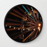 ferris wheel Wall Clocks featuring Ferris Wheel by Renee Trudell