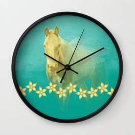 Golden ghost horse on teal Wall Clock