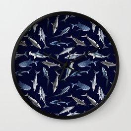 SHARKS PATTERN (NAVY BLUE) Wall Clock