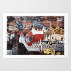 Wall painting from the Grand Palace in Bangkok, Thailand Art Print