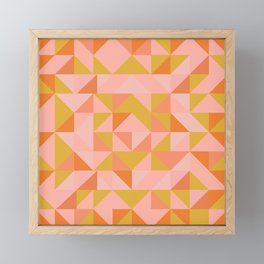 Deconstructed Triangle Pattern in Coral and Peach Framed Mini Art Print