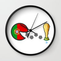portugal Wall Clocks featuring Portugal by onejyoo