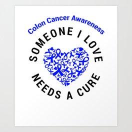 Colorectal Cancer Blue Ribbon Awareness Heart Support Cure design Art Print