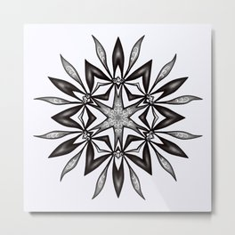 Kaleidoscopic Flower Art In Black And White Metal Print