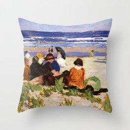 Edward Henry Potthast - On The Beach, Ogunquit, Maine Throw Pillow