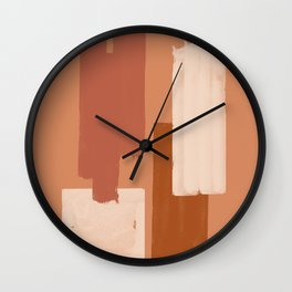 Burnt Orange Art, Terracotta Abstract Shapes Wall Clock