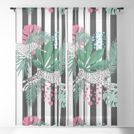 Vintage animalistic design with running cheetah over stripes Sheer Curtain