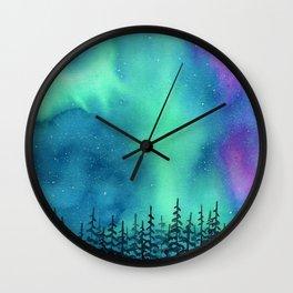 """Wilderness Lights"" Aurora Borealis watercolor landscape painting Wall Clock"