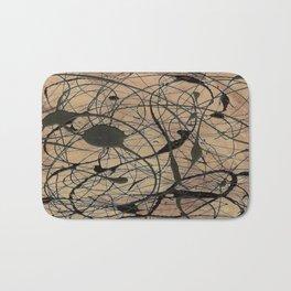 Pollock Inspired Abstract Black On Beige Bath Mat