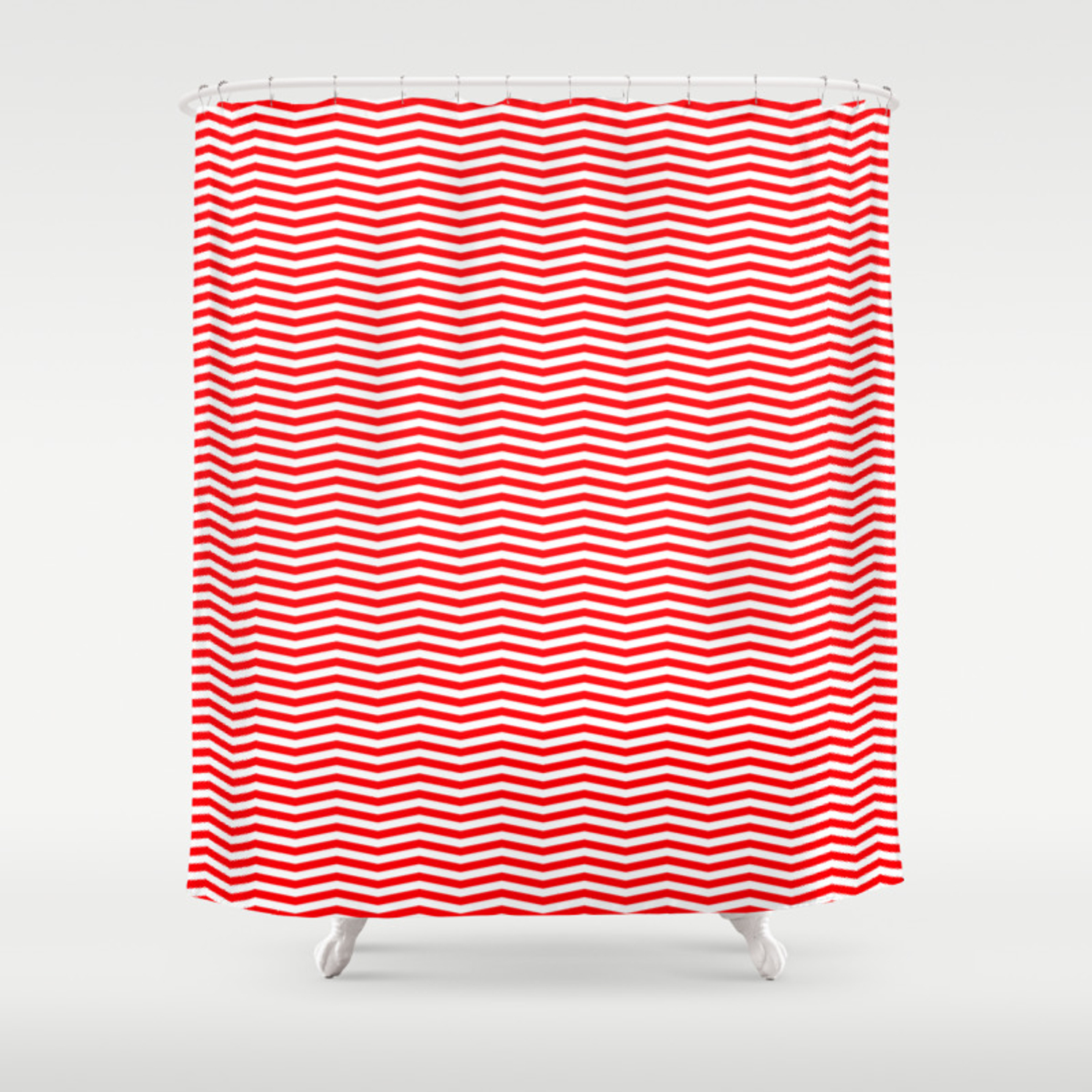 Red And White Christmas Wavy Chevron Stripes Shower Curtain