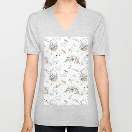 Bohemian feathers pink teal white easter bunny floral  Unisex V-Neck