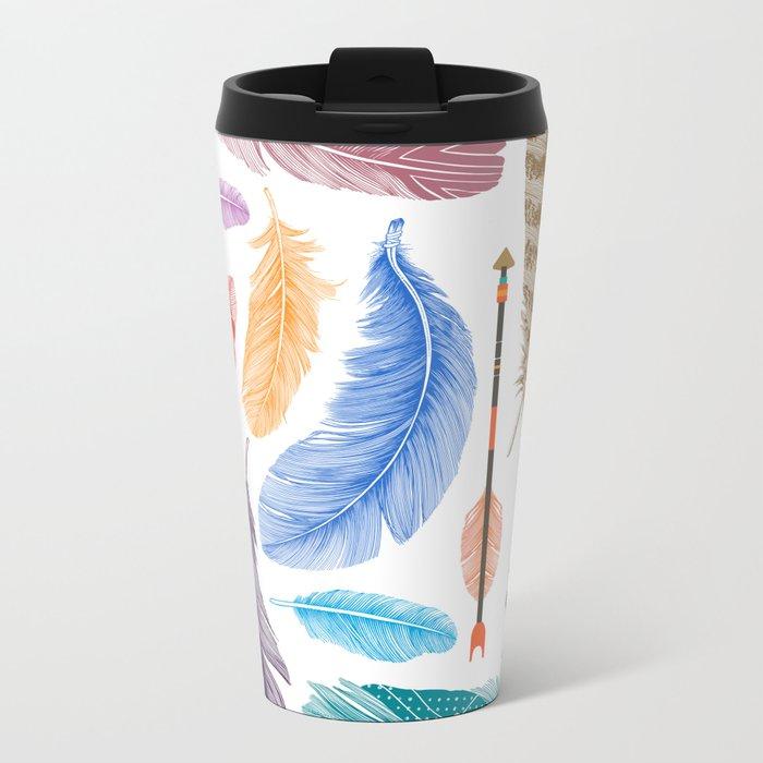Feathers on White Metal Travel Mug