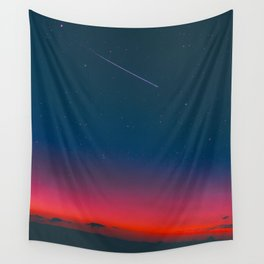 Neon Blue Pink Night Star Sky Wall Tapestry
