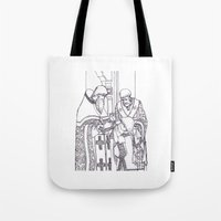 christian schloe Tote Bags featuring Christian service by Shelby Claire