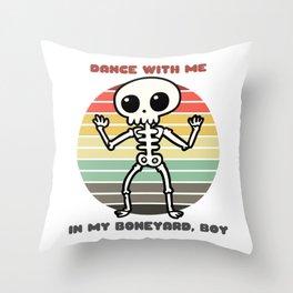 Sunset Skeleton / Dance With Me in My Boneyard, Boy Throw Pillow