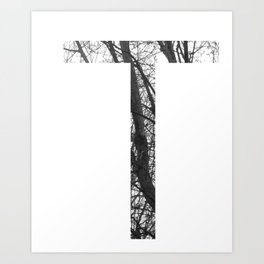 Minimal Letter T Print With Photography Background Art Print