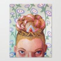 princess peach Canvas Prints featuring Princess Peach by Jodi Hoover Art