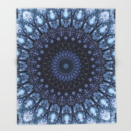 Dark and light blue mandala Throw Blanket