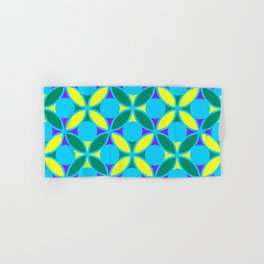 Geometric Floral Circles Vibrant Color Challenge In Bold Purple Yellow Green & Turquoise Blue Hand & Bath Towel