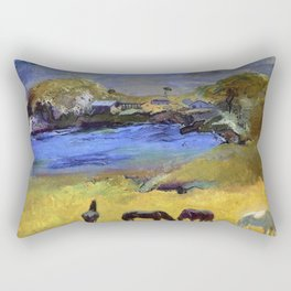Horses in the Meadow, Carmel, California coastal landscape painting by George Wesley Bellows Rectangular Pillow