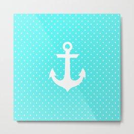 Trendy aqua white nautical anchor polka dots Metal Print
