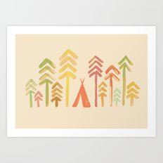 Tepee in the forest Art Print