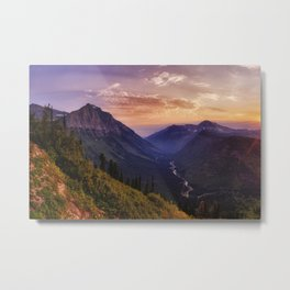 Photo USA Glacier National Park Nature Mountains park forest Sunrises and sunsets landscape photography Rivers mountain Parks Forests Scenery sunrise and sunset river Metal Print