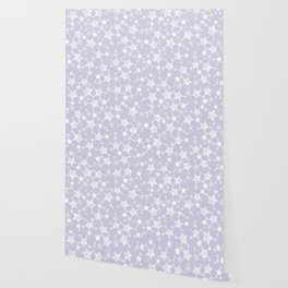 Block Printed Dusty Purple and White Stars Wallpaper