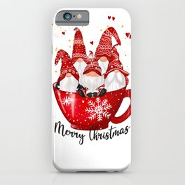 Merry Christmas Cup of Garden Gnomes iPhone Case