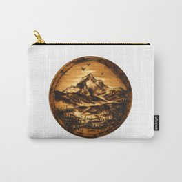 Wood-burn Wanderlust Carry-All Pouch