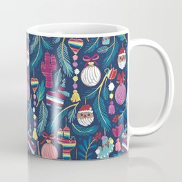 Mexican Christmas Tree // blue background blue pine leaves multicoloured holiday decorations pan dulce balls cacti hearts birds pom-pom garland pinatas santa claus conchas donuts Coffee Mug