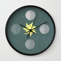 moon phases Wall Clocks featuring Phases by Shelby Thompson