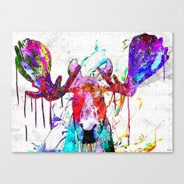Moose Watercolor Grunge Canvas Print