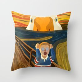 The Honk - Untitled Goose Game Famous The Scream Canvas Painting Parody Meme Thematic Gift Throw Pillow