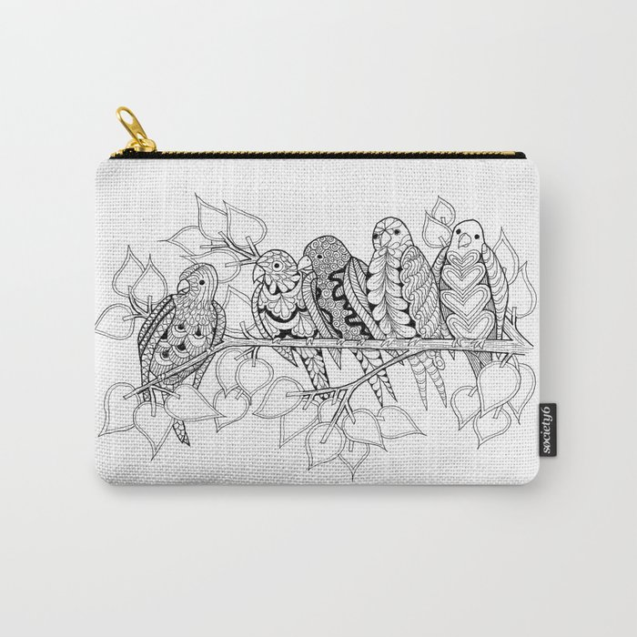 NOT Angry Birds - Zentangle Illustration Carry-All Pouch