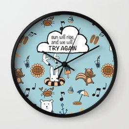 Fun Summer Beach Theme Pattern with Animal Illustration and Inspirational Hand Lettering Quote Wall Clock