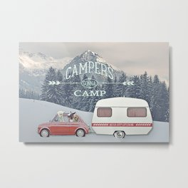 NEVER STOP EXPLORING - CAMPERS GONNA CAMP Metal Print