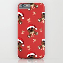 Cool Santa Bear with sunglasses and Christmas gifts pattern iPhone Case