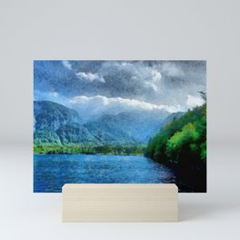 Summer at the lake in Slovenia under the Alps Mini Art Print