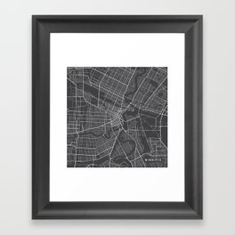 Winnipeg Map, Canada - Gray Framed Art Print