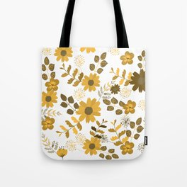 Big Yellow and Brown Flowers Tote Bag