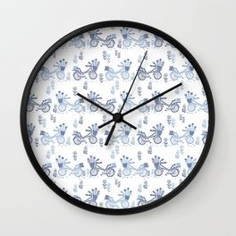 Bicycles spring cute white and navy pattern bike print by andrea lauren Wall Clock