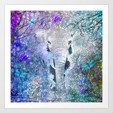 ELEPHANT IN THE STARRY LAKE Art Print