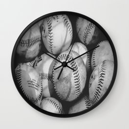 Baseballs in Black and White Wall Clock
