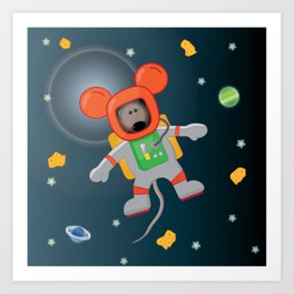 Space Mouse floating in space Art Print