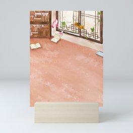 Watercolor Illustration of a bookshelf in the room Mini Art Print